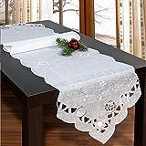 Tischläufer Weihnachtszeit, 35x140 cm, weiße Moderne Tischdecke zu Weihnachten