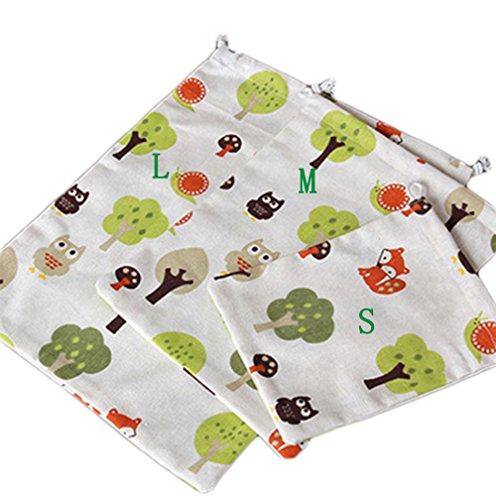 LAAT Travel Storage Taschen Drawstring Taschen für Sommer Ausflug Baumwoll Leinen Jute Taschen Reise taschen 3 StücK (Jute Drawstring)