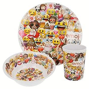 Emoji- Set melamina sin Orla 3 Piezas (Plato, Cuenco y Vaso) (STOR 86690)