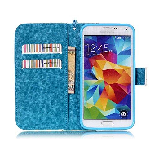 Copertura per Samsung Galaxy S5 in pelle, Samsung Galaxy S5 Custodia Portafoglio, S5 Case Cover, Ukayfe blue Wave-this iphone is locked Design dellunità di elaborazione di vibrazione del cuoio di pro blue Wave-this iphone is locked