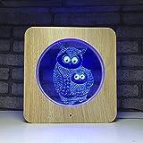 WAZ Veilleuse 7-Color Dimmer Interrupteur Tactile TéLéCommande 3D LumièRe pour Enfants Lampe De Table Hallucination Optique LED,7colorremotecontrol