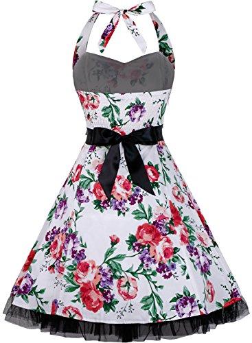 Damen Kleid OTEN 1950er Neckholder Vintage Retro Partykleider Festliche Rockabilly Kleid Cocktailkleid Blumen 612