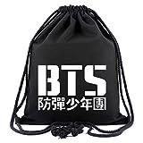 SIMYJOY BTS Fans Sacca Sportiva KPOP Sacco da Palestra Sacca da Ginnastica Cool Casual Sacco in Tela Sacca da Viaggio Jimin V Jung Kook Nero BTS 3