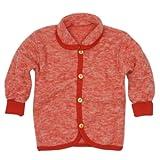 Cosilana Baby Jäckchen mit Rundhals, Größe 98/104, Farbe Rot-Melange, Wollfleece 100% Schurwolle kbT