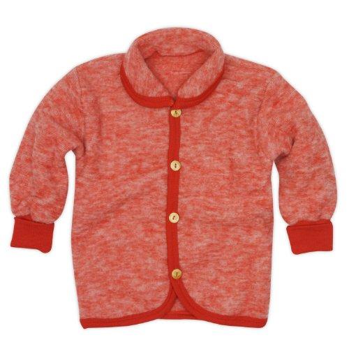 Cosilana Baby Jäckchen mit Rundhals, Größe 86/92, Farbe Rot-Melange, Wollfleece 100% Schurwolle kbT - 100% Wolle Jacke
