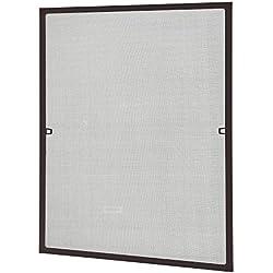[casa.pro] Mosquitera con marco 100x120 cm marrón - acortable - para ventana - protección contra insectos - no necesita atornillar ni agujerear