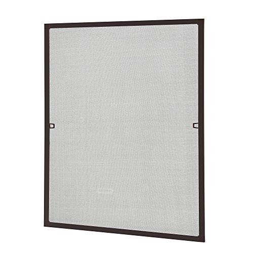 [casa.pro] Fliegengitter mit Rahmen 100x120 cm braun - individuell kürzbar - Fenster Insektenschutz Moskitonetz - ohne Bohren und Schrauben