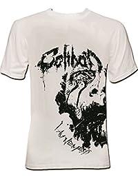 Caliban - Half Face T-Shirt weiss