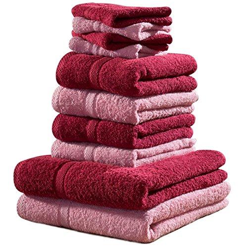 Set von 10 Luxus Weich Ägyptische Baumwolle Strand Handtuch Hand Waschlappen Ballen Set Geschenk - Pink & kastanienbraun (Ägyptische Set)