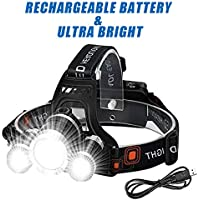 Wesho Rechargeable Headlight with 3 Lights 4 Modes, 6000 Lumen Super Bright LED Lamp, Hands-Free Flashlight Head Torch for Running, Camping, Fishing, Cycling, Hiking, Waterproof