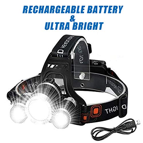 Wesho Rechargeable Headlight with 3 Lights 4 Modes, 6000 Lumen Super Bright LED Lamp, Hands-Free Flashlight Head Torch for Running,...