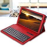 REAL-EAGLE Tastiera Custodia per Galaxy Tab A 10.1 2019 SM-T510/T515 (Inglese QWERTY), Custodia in Pelle con Wireless Staccabile Keyboard per Samsung Tab A 10.1'' 2019 (Galaxy Tab A 10.1 2019, Red)