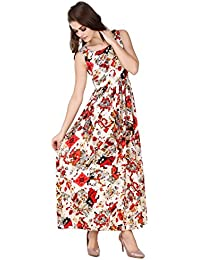 Swagg India Women's Crepe Printed Long Casual Wear Tunic Maxi Dress (TU75)