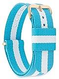 MOMENTO Damen Herren NATO Nylon Uhren-Armband Ersatz-Armband Uhren-Band mit Edelstahl-Schliesse in Rosé-Gold und Hell-Blau Weiss Gestreift 20mm