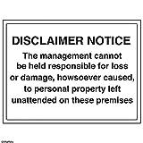 vsafety 72027bf-s Allgemeine Informationen Sign Haftungsausschluss Merken,/Management Verantwortung, selbstklebend, Landschaft, 400mm x 300mm, schwarz