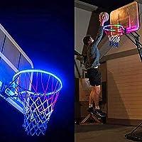 CTGVH luces LED de aro de baloncesto, luces de aro de baloncesto con luz LED, colorido, energía solar, canasta de baloncesto, luz nocturna, sistema de iluminación de aro de baloncesto superbrillante