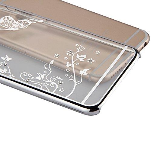JAWSEU Hard Clear Schutzhülle für iPhone 6 Plus/6S Plus,Ultra Dünne Bumper-Style Überzug Glitzer/Strass/Diamanten/Glänzend Schmetterling Blumen Slim Durchsichtig Transparent Crystal Clear Hart PC Zurü Schmetterling,Silber