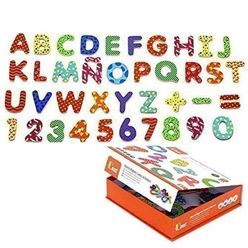 Magnetbuchstaben und Zahlen aus Holz, 77tlg.