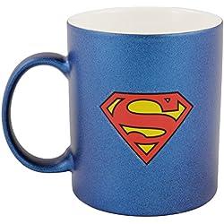 'Superman 0122051Taza de café en aspecto metalizado zollsuperman Logo, 300ml, porcelana, azul, 12x 7,5x 9,30cm