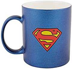 Idea Regalo - Superman 0122051 Tazza Da Caffè In Design metallizzato zollsuperman Logo, 300 ml, Porcellana, Blu, 12 x 7,5 x 9,30 cm