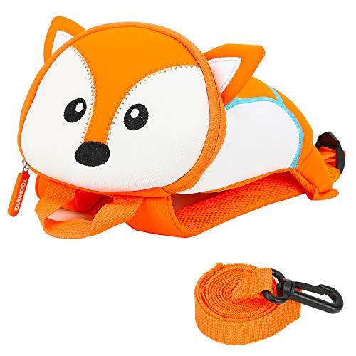 Kinderrucksack, Laikwan® Anti verloren Kinder Rucksack, Animal Schule Tasche mit Sicherheitsleinen für Jungen Mädchen 1-3 Jahre (Fuchs)