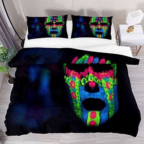 Soefipok Bettwäsche Bettwäscheset Neon Color Mask Bedrucktes Tröster-Set mit 2 Kissenbezügen 3-teilig, 1 Bettwäscheset mit 2 Kissenbezügen
