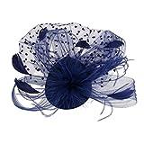 Frcolor Sombrero Fascinador de Pelo Clip Novia Velo Pluma Horquilla (Azul)