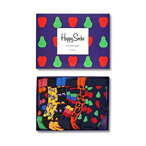 Happy Socks Baby-Unisex Socken XKID10-Kids Gift Box, 6er Pack, Blau (Blau 6001), One Size (Herstellergröße: 0-12M) (Camouflage-mädchen-socken)