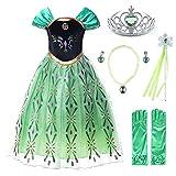 JerrisApparel Principessa Partito Costume Cosplay Vestire (140cm, Verde con Accessori)
