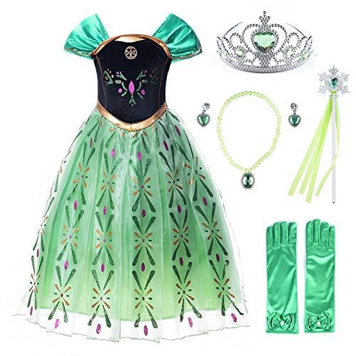 JerrisApparel Prinzessin Kostüm Karneval Verkleidung Party Kleid (140, Grün Anna mit - Grüne Kostüm Zubehör
