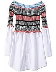 Piso de Punto a Rayas de Color a Rayas Camisa Falda Extraíble Vestido , Color de la Foto , Metro