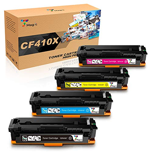 CF410X CF410A 7Magic Toner kompatibel für HP CF410X CF410A kompatibel für HP Color Laserjet Pro MFP M477fdw M477fnw M477fdn M452dn M452nw M452dw M377dw 410X CF411X CF412X CF413X Drucker (4 Pack)