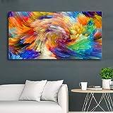 Selflettly Ölgemälde auf Leinwand, Regenbogenfarben, für Wohnzimmer, Poster und Drucke, moderne Kunst-Dekoration, ohne Rahmen, 60 x 80 cm