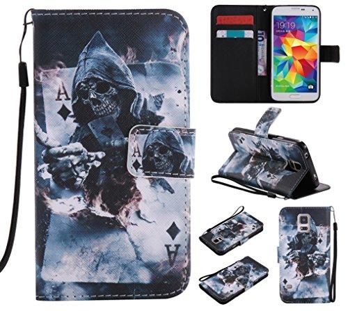 Lomogo Samsung Galaxy S5 Hülle Leder, Schutzhülle Brieftasche mit Kartenfach Klappbar Magnetverschluss Stoßfest Kratzfest Handyhülle Case für Samsung Galaxy S5 - LOKTU20260#10 (Phone Cases Und S5 Galaxy Brieftaschen)