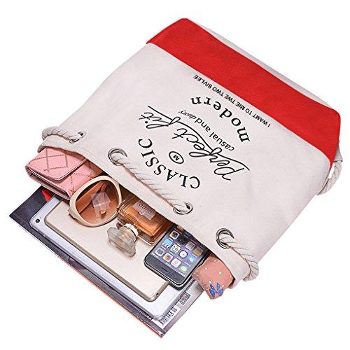 FakeFace Damen Tasche Tüte Segeltuch Aufdruck Rucksack Turnbeutel Sportbeutel Gymnastikbeutel Schulbeutel Freizeit Casual Shopping Shopper Rot
