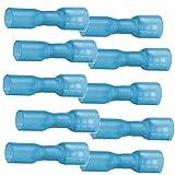 10 vollisolierte Flachsteckhülsen 6,4 x 0,8 mit Schrumpfschlauch blau 1,5 bis 2,5 mm²