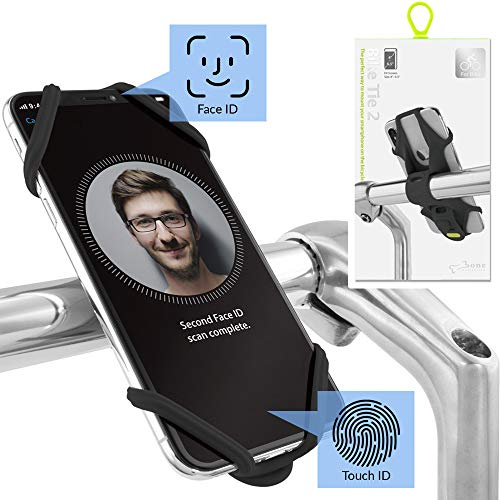 Bone Collection Face ID kompatibel, Anti-rutsch Fahrrad Handyhalterung für die Lenkstange, 4 - 6,5 Zoll Smartphones - Bike Tie 2, Schwarz