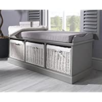 Tetbury Grey Storage Bench with 3 white baskets. Lovely matte grey bench with cushion and storage baskets. Fully Assembled