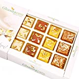 Ghasitaram Gifts Diwali Gifts Sweets- Assorted Barfis White Box, 300 gms