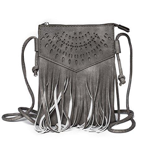 Kandharis Damen Umhängetasche Schultertasche Minibag Ethno CrossOver Tasche mit Fransen geometrischen CutOut Muster GB-13 Anthrazit -