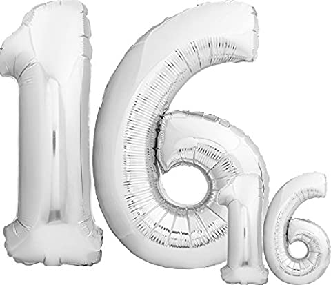Luftballons 16 Geburtstag Sweet 16 XXL - Riesen Folienballon in 2 Größen 40