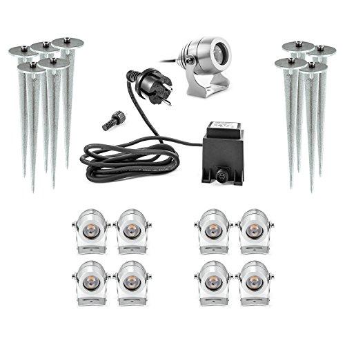 Premium LED Außenstrahler mit Erdspieß 9er Set 9 Aussenstrahler mit Erdspiess Gartenstrahler