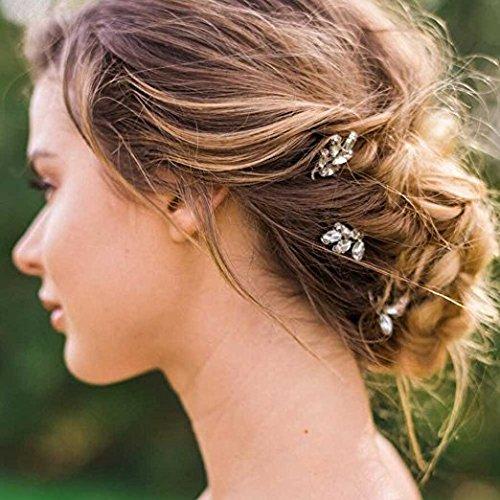 Horquillas con perlas de cristal para el cabello, 3 unidades