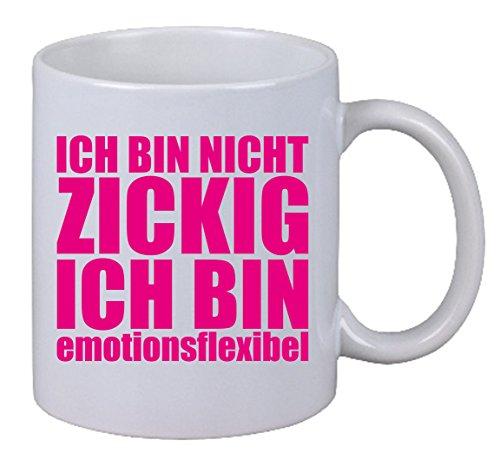 """Kaffee Tasse """"Ich bin nicht zickig ich bin emotionsflexibel"""" Magenta Font X-Mas"""