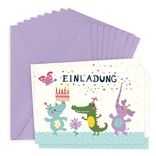 8er Set lustige Einladungskarten zum Kindergeburtstag für 8 Personen, für Junge und Mädchen, Tiere, Einhorn, Krokodil, Elephant, Schmetterling, Nashorn, retro, vintage, bunt
