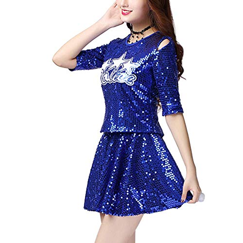 rleading Set - Jazz Dance Kostüm Pailletten Modern Dance Top Dress Set Fancy Party Schwestern Performance Kostüm ()