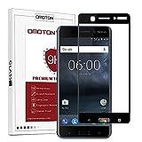 OMOTON Protection D'écran Nokia 6, Film Protection en Verre Trempé Complet [Couverture Complète] [Dureté 9H] et Résistant aux Rayures pour Nokia 6, Noir