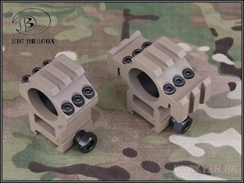 Emerson Ringe-Set für Softair, 25,4mm, mit dreifacher Picatinny-Schiene (22mm), sandfarben -