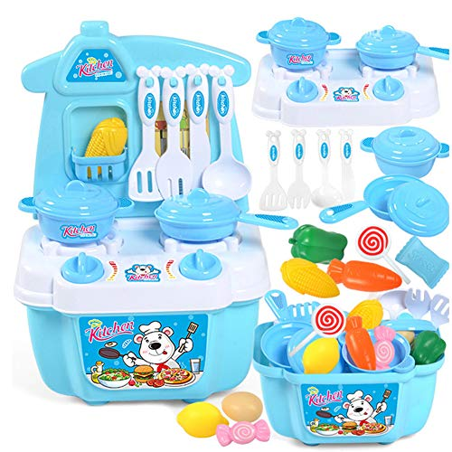 MongKok 21 PCS Play Kitchen Kit for Kids Pretend Cooking Set Roleplay Toddlers Playhouse Game