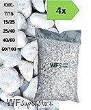 WUEFFE S.R.L. Ciottoli di marmo Bianco Carrara - 4 sacchi da 25 kg - sassi pietre giardino (40/60)